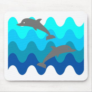 Two Dolphins With 4-Color Stylized Waves Mouse Pad