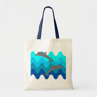 Two Dolphins With 4-Color Stylized Waves Tote Bag