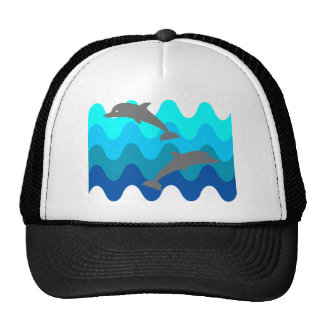 Two Dolphins With 4-Color Stylized Waves Trucker Hat