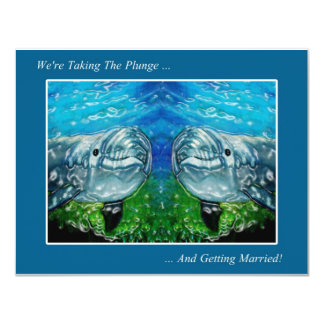 Two Dolpings: We're Taking The Plunge: Wedding 4.25x5.5 Paper Invitation Card