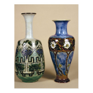 Two Doulton vases by Eliza Simmance, c.1880 Postcard