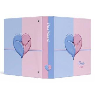Two Doves One Heart blue pink Binder binder