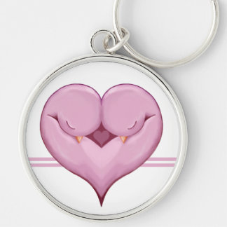 Two Doves One Heart pink Premium Keychain