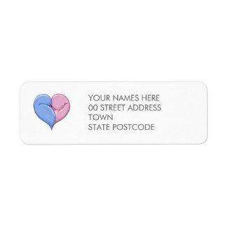 Two Doves One Heart Return Address Label label