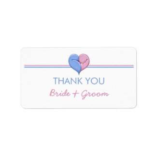 Two Doves One Heart Thank You Sticker label