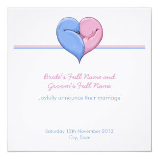 Two Doves One Heart Wedding Announcement