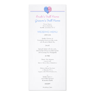 Two Doves One Heart Wedding Dinner Menu Card