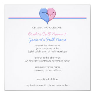 Two Doves One Heart Wedding Invitation