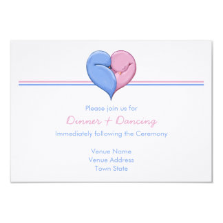 Two Doves One Heart Wedding Reception Card