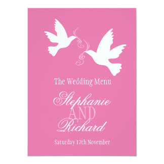 Two doves pink & white wedding dinner menu card