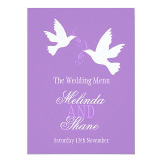 Two doves purple & white wedding dinner menu card