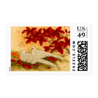 Two Doves, Red Flowers Postage