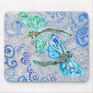 Two Dragonflies on recycled text Mouse Pads