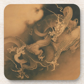 Two Dragons in Clouds Vintage Coaster