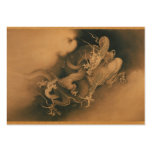 Two Dragons in Clouds Vintage Large Business Cards (Pack Of 100)
