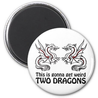 Two Dragons 2 Inch Round Magnet