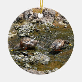 Two Ducks Double-Sided Ceramic Round Christmas Ornament