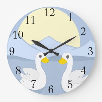 Two Ducks Large Clock