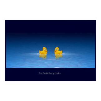 Two Ducks Playing Chicken Poster