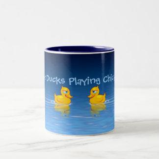 Two Ducks Playing Chicken Two-Tone Coffee Mug