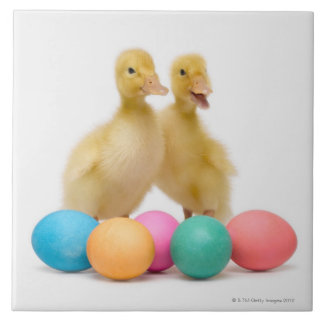 Two ducks with Easter Eggs Tile