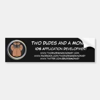 Two Dudes and a Monkey Bumper Sticker Car Bumper Sticker