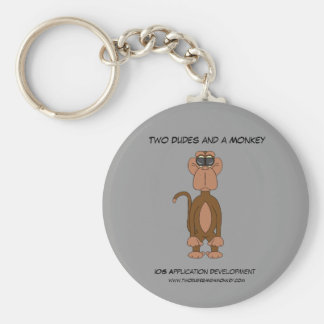 Two Dudes and a Monkey Round Keychain