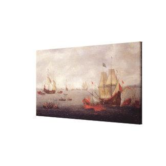 Two Dutch Men o'War Accompanied by Ottoman State B Canvas Print