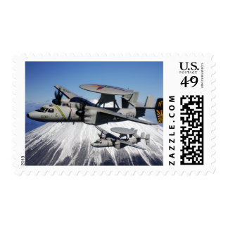 Two E-2C Hawkeyes conduct a flyby Postage