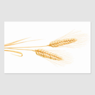 Two ears of wheat rectangular sticker