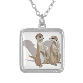 two earth males with shade square pendant necklace