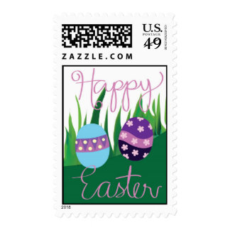Two Easter Psyanky Eggs on Green Grass Stamp