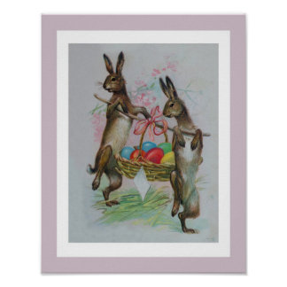 Two Easter Rabbits Carrying Eggs Poster