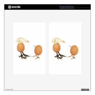 Two eggs as birds with beaks skull and legs kindle fire skins