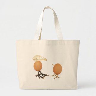 Two eggs as birds with beaks skull and legs large tote bag