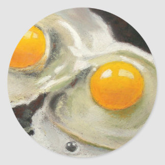 TWO EGGS REALISM ARTWORK CLASSIC ROUND STICKER