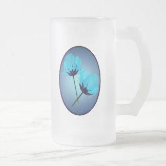 Two Electric Blue Flower Oval  Mug