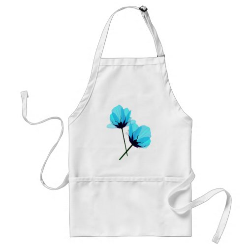 Two Electric Blue Flowers Apron