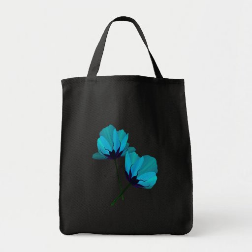 Two Electric Blue Flowers Bag
