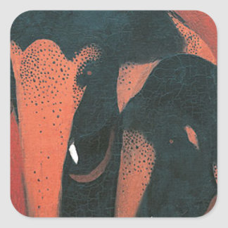 Two Elephants by Amrita Sher-Gil Square Sticker