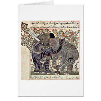 Two Elephants By Arab Painters To 1295 Greeting Card