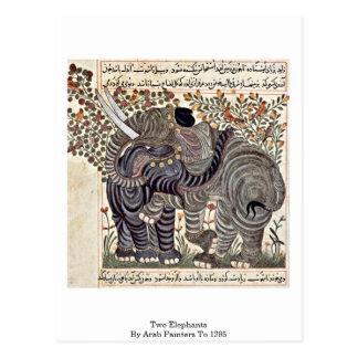 Two Elephants By Arab Painters To 1295 Postcard