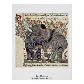 Two Elephants By Arab Painters To 1295 Poster