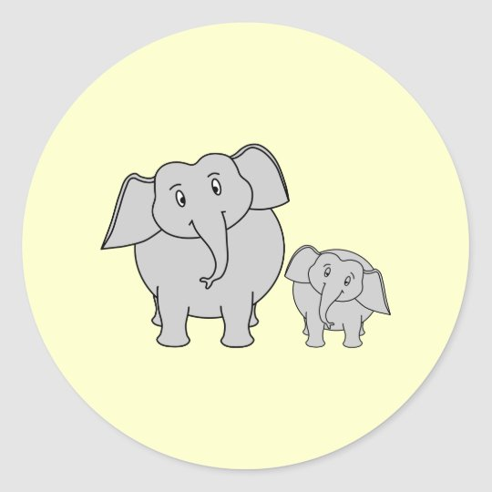 Two Elephants. Cute Adult and Baby Cartoon. Classic Round Sticker