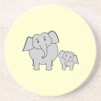 Two Elephants. Cute Adult and Baby Cartoon. Coaster