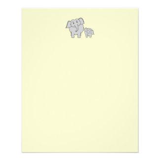 Two Elephants. Cute Adult and Baby Cartoon. Custom Flyer