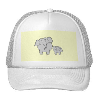 Two Elephants. Cute Adult and Baby Cartoon. Trucker Hat