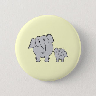 Two Elephants. Cute Adult and Baby Cartoon. Pinback Button