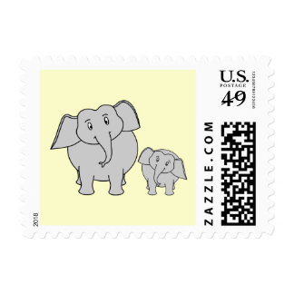 Two Elephants. Cute Adult and Baby Cartoon. Postage Stamp