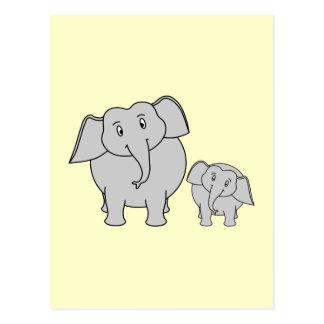 Two Elephants. Cute Adult and Baby Cartoon. Postcard